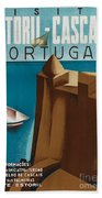 Vintage Portugal Travel Poster Beach Towel