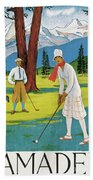 Vintage Poster Advertising Samaden In Switzerland Beach Towel