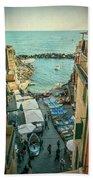Vintage Riomaggiore Cinque Terre Italy Beach Towel
