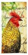 Vintage Rooster Portrait    Beach Towel