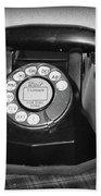 Vintage Rotary Phone Black And White Beach Towel