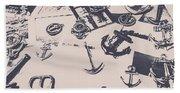 Vintage Sailing Art Beach Towel