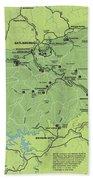 Vintage Smoky Mountains National Park Map Beach Towel