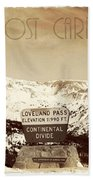Vintage Style Post Card From Loveland Pass Beach Towel by Juli Scalzi