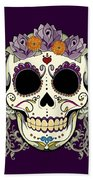 Vintage Sugar Skull And Flowers Beach Towel