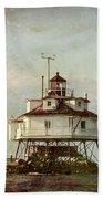 Vintage Thomas Point Shoal Lighthouse Beach Towel