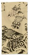 Vintage Toned Owls Beach Towel