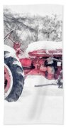 Vintage Tractor Christmas Beach Towel