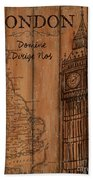 Vintage Travel London Beach Towel
