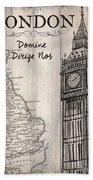 Vintage Travel Poster London Beach Towel