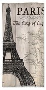 Vintage Travel Poster Paris Beach Towel
