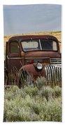 Vintage Truck In Field Beach Towel