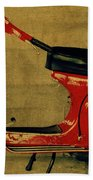 Vintage Vespa Scooter Red Beach Towel