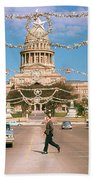 Vintage View Of The Texas State Capitol And Christmas Decorations Strung Along Congress Avenue From December 1960 Beach Towel