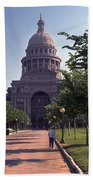 Vintage View Of The Texas State Capitol In Downtown Austin, Texas Beach Towel