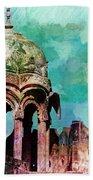 Vintage Watercolor Gazebo Ornate Palace Mehrangarh Fort India Rajasthan 2a Beach Towel
