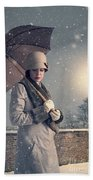 Vintage Woman With Coat Hat And Umbrella Outside In Snow Beach Towel
