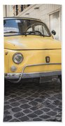 Vintage Yellow Fiat 500 In Rome Beach Towel
