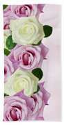 Violet  And White Roses Beach Towel