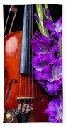 Violin And Purple Glads Beach Towel
