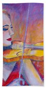 Violin Player Beach Towel
