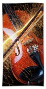 Violin With Sparks Flying From The Bow Beach Towel by Garry Gay