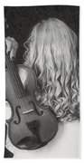 Violin Woman - Id 16218-130643-9888 Beach Towel