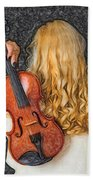 Violin Woman - Id 16218-130709-0128 Beach Towel