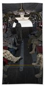 Vips In A Ch-47 Chinook Helicopter Beach Towel