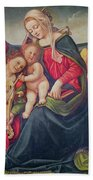 Virgin And Child And Angel Musicians  Beach Towel by Piero di Cosimo