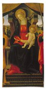 Virgin And Child Between Saint Peter And Saint Paul Beach Towel