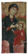 Virgin And Child Enthroned With Saints Leonard And Peter And Scenes From The Life Of Saint Peter Beach Towel