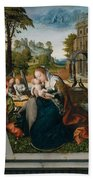 Virgin And Child With Angels Beach Towel