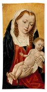 Virgin And Child With Two Angels Beach Towel