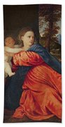 Virgin And Infant With Saint John The Baptist And Donor Beach Towel