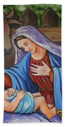 Virgin Mary And Baby Jesus Beach Towel