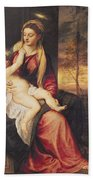Virgin With Child At Sunset Beach Towel by Titian