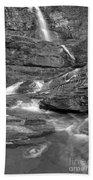 Virginia Falls Glacier Cascades - Black And White Beach Towel