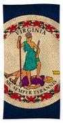 Virginia State Flag Art On Worn Canvas Edition 3 Beach Towel