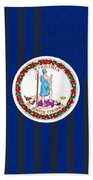 Virginia State Flag Graphic Usa Styling Beach Towel