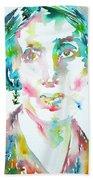Virginia Woolf Watercolor Portrait Beach Towel