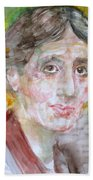 Virginia Woolf - Watercolor Portrait.7 Beach Towel