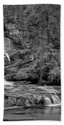 Virgnia Falls Pool - Black And White Beach Towel