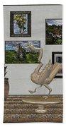 virtual exhibition_Statue of swan 23 Beach Towel