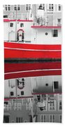 Vivid Rich Red Boat Beach Towel