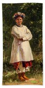 Vladimir Yegorovich Makovsky Russian 1846  1920   Ukrainian Girl, 1898 Beach Towel