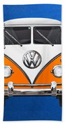 Volkswagen Type - Orange And White Volkswagen T 1 Samba Bus Over Blue Canvas Beach Towel by Serge Averbukh