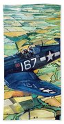 Quiet Sky - Vought F4u-1d Corsair Beach Towel