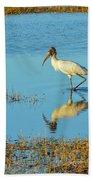 Wadding Wood Stork And Reflection Beach Towel