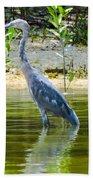 Wading Blue Heron Beach Towel